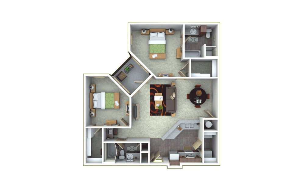 ENSO 2 bedroom 2 bath 1216 square feet