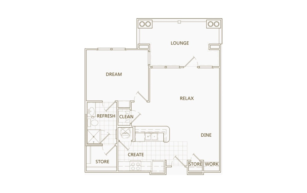 1 bedroom 1 bath 765 sq.ft.