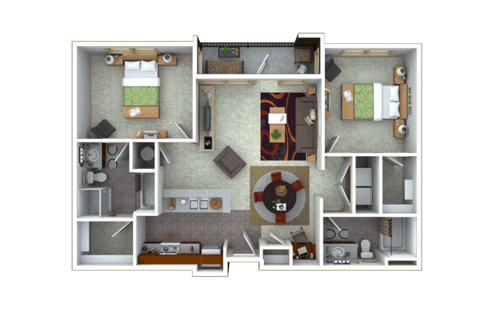 2 bedroom 2 bath 1278 sq.ft.