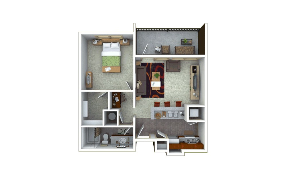 1 bedroom 1 bath 724 sq.ft.